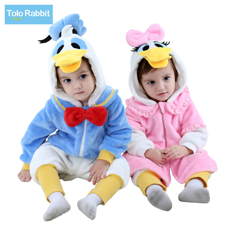 2018 Autumn New Style Dr. Duck Single Layer Romper/Pink Duck Single Layer Romper Tolo Rabbit Childrenswear