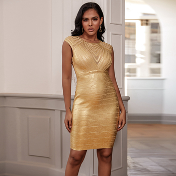 Ocstrade Bandage Dress 2020 New Arrivals Women Metallic Sexy Gold Bandage Dress Bodycon Celebrity Club Evening Party Dresses ocstrade new fashion mesh insert metallic bandage dress 2020 women silver off shoulder bandage dress bodycon evening party dress