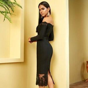 Image 5 - Adyce 2020 새로운 겨울 여성 블랙 붕대 드레스 섹시 슬래시 목 우아한 오프 어깨 레이스 뜨거운 연예인 파티 Bodycon 클럽 드레스