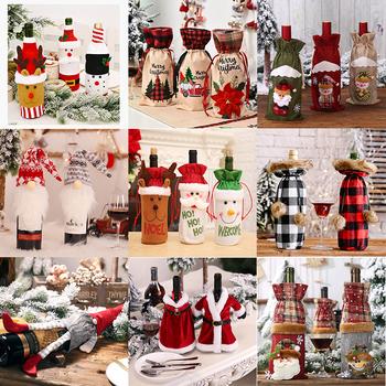 Wesołych świąteczny pokrowiec na butelkę wina dekoracje do domu 2020 boże narodzenie nowy rok Navidad prezenty pokrowiec sweter na butelkę wina tanie i dobre opinie YONGSNOW CN (pochodzenie) Butelka COTTON 1 Piece