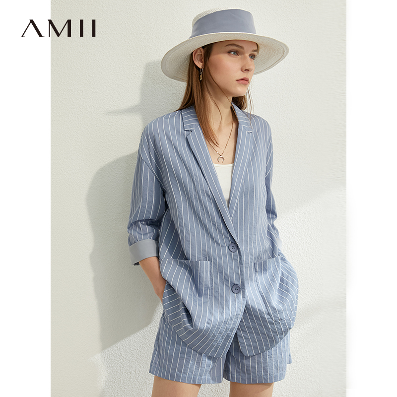 AMII Minimalism Spring Summer Suit Set Lapel Stripe Three Quarter Sleeves Suit Coat High Waist Shorts 12030238