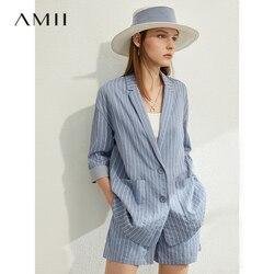 AMII Minimalismus Frühling Sommer Anzug Set Revers Streifen Drei Viertel Ärmel Anzug Mantel Hohe Taille Shorts 12030238