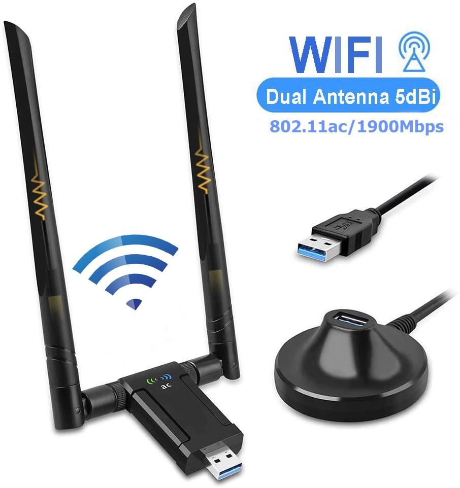 KuWFi 1900Mbps USB Wifi Adapter Dual Band 5dBi Wifi Antenna USB3.0 Wireless Network Card for PC Desktop Lapt