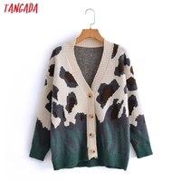 Tangada 2021 autunno donna verde stampa leopardo maglione Cardigan lavorato a maglia maglione Vintage manica lunga abbottonatura capispalla femminile 3A5