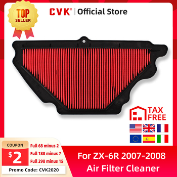 цена на CVK  Replacement NEW High Quality Intake Air Filter Cleaner Element for Kawasaki ZX-6R ZX636 2007 2008 ZX6R 6R NINJA 07 08