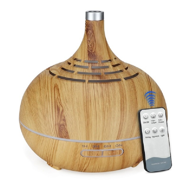 Ultrasonic 400ml Remote Control Air Humidifier Aroma Essential Oil Diffuser Wood Grain With 7 Color Changing Lights For Office