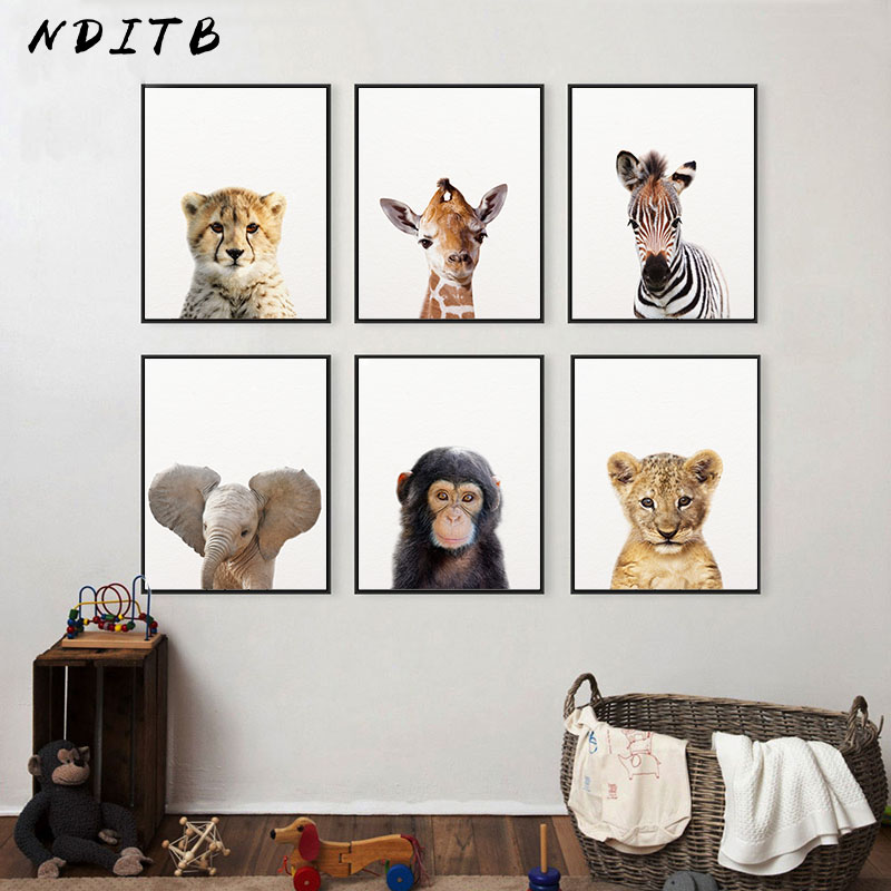 Trend Product  Baby Animal Zebra Lion Elephant Canvas Poster Nursery Wall Art Print Minimalist Painting Nordic Kid