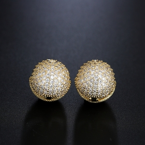 Image 2 - Newranos Gold Round Ball Earrings Cubic Zirconias Hoop Earrings Hollow Geometric Ball Metal Earrings for Women Jewelry ELS001784