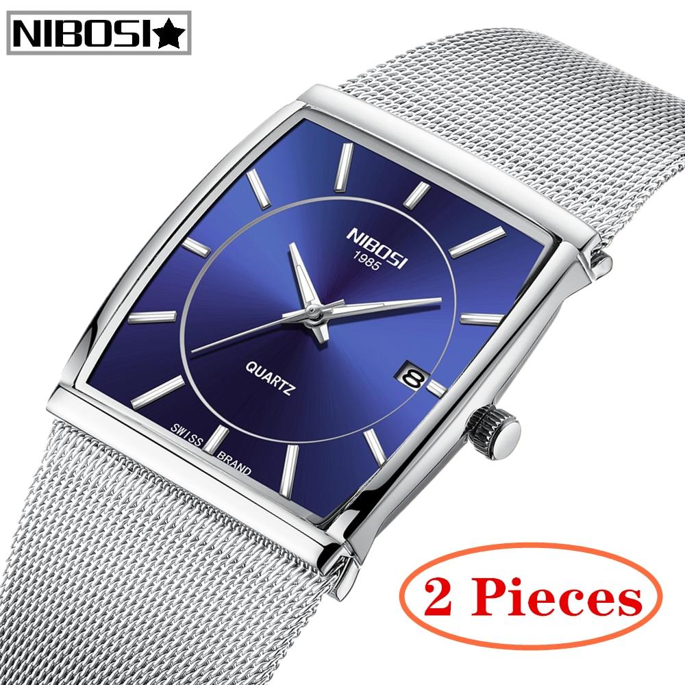 2 pièces NIBOSI hommes montres Top marque de luxe hommes Unique sport montre hommes Quartz Date horloge étanche maille montre Relogio Masculino