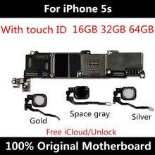 Placa base 5S para iPhone placa base desbloqueada 16GB 32GB 64GB 100% Original con Touch ID Sistema IOS placa lógica de función completa