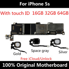 Placa mãe 5S para iphone desbloqueado mainboard 16gb 32 64gb 100% original com touch id ios sistema função completa placa lógica