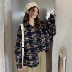 Camisa de cuadros profundos para mujer sentido del diseño pequeño zhong fu antiguo puerto Kong-estilo camisetas 2019 nuevo estilo desgaste exterior principios de otoño Weep