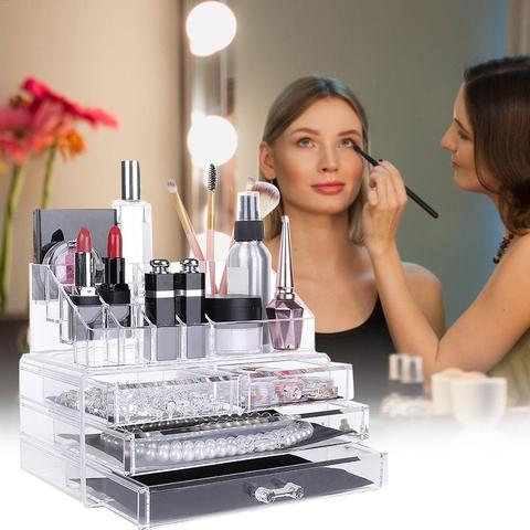acrilico caixa de armazenamento do organizador de maquiagem joias display rack de batom escova cosmetica