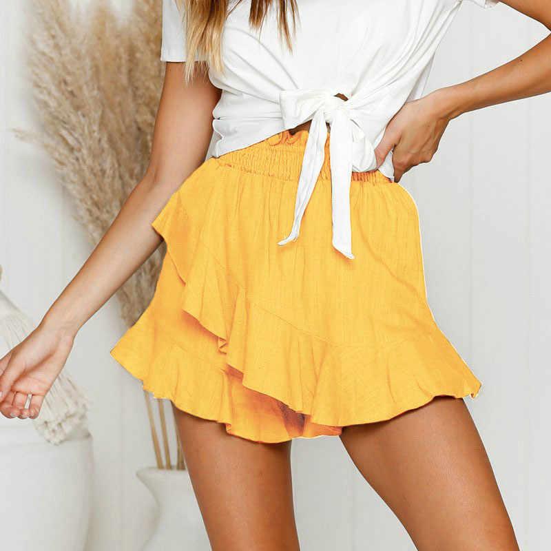 2019 nowych moda szerokie nogawki krótkie spodnie damskie lato zielony żółty marszczony elastyczny pas kobiet spodenki Sexy krótkie