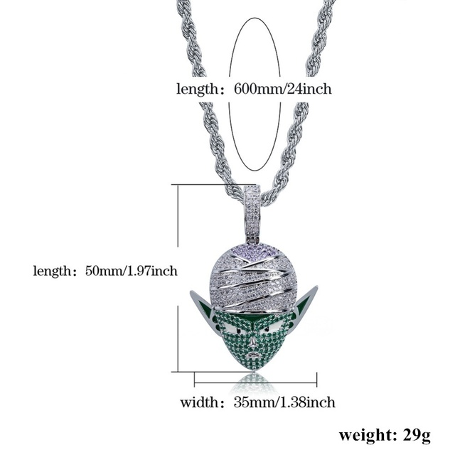 Piccolo Dragon Ball style Pendant necklace With Tennis Chain Gold Silver Color