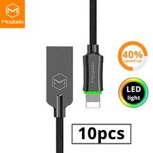 MCDODO Cable USB de carga rápida para móvil, Cable de datos Usb para iPhone X, XR, XS, MAX, 8, 7, 6s, 6 plus, 5, 10 unidades por lote