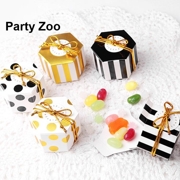 150-X-Polka-Stripe-Wedding-Chocolate-Honey-Comb-Gift-Boxes-Baby-Shower-Birthday-Mini-Hexagon-Souvenir