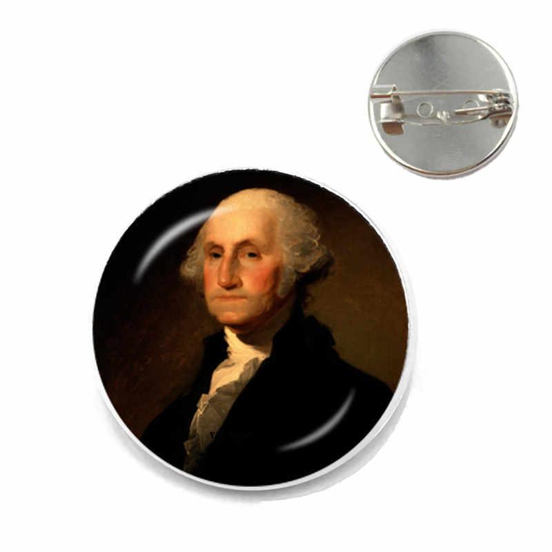 Washington Presiden, Politisi Strategi, Revolutionist Tangan Logam Bros, 25 Mm Kaca Lingkaran Peta, bros Layak Mengumpulkan