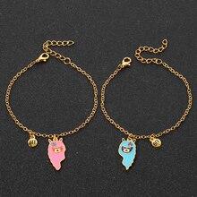 2pcs/Pair BFF Llama Bracelet Rhinestone Heart Charm Bracelet for Women Girls Best Friend