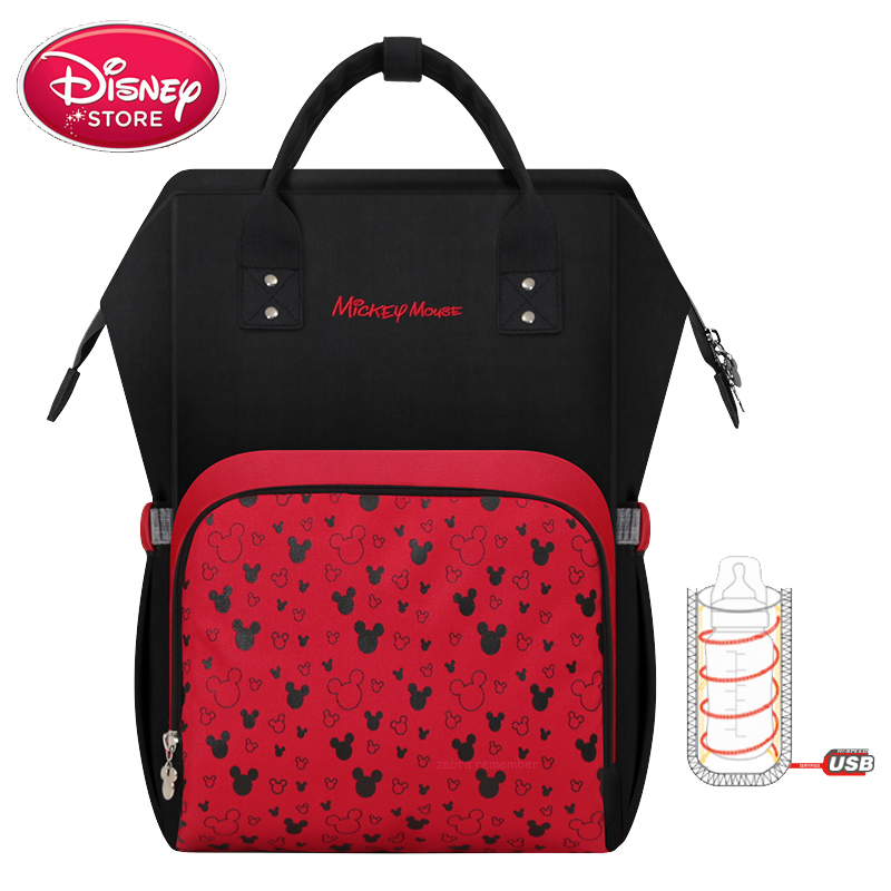 Disney Diaper Bag USB Insulation Heating Mummy Backpack Mom Baby Bag Maternity for Baby Care Travel Stroller Nappy Bag Handbag
