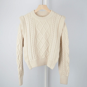 Image 1 - High Quality Wool Blend Vintage Style French Style Contour Coarse Knitted Sweater Jumper Pullover   Ladies Yellow/Beige Knit Top