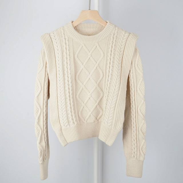 High Quality Wool Blend Vintage Style French Style Contour Coarse Knitted Sweater Jumper Pullover   Ladies Yellow/Beige Knit Top