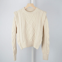Wysokiej jakości mieszanka wełny styl Vintage francuski styl Contour gruby dziergany sweter z dzianiny pulower panie żółty/beżowy dzianinowy Top