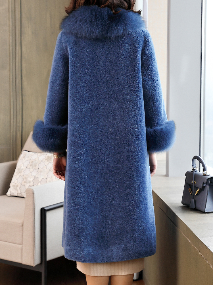 New 2020 100% Wool Real Fur Coat Women Winter Warm Fox Fur Long Parka Female Sheep Shearing Overcoat Manteau Femme Hiver LX2431