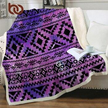 BeddingOutlet Aztec Purple Blankets For Bed Tribal Bedding Geometric Ethnic Plush Blanket Watercolor Texture Throw Blanket