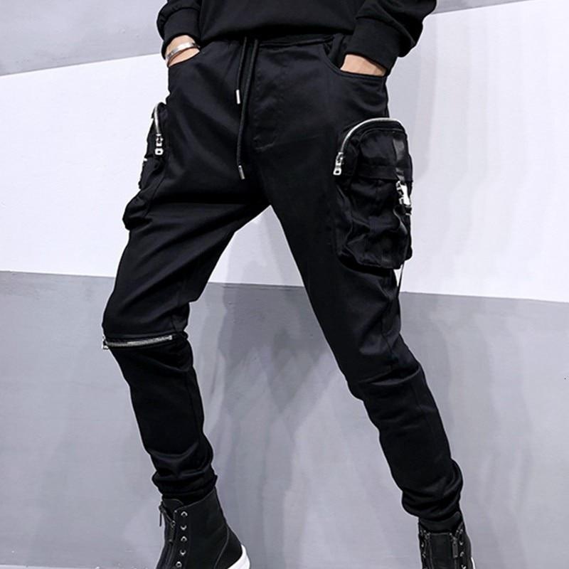 2020 New Trend Mens Black Slim Korean Harem Pants Size S-3XL Comfort Hip Hop Trousers For Male Casual Zipper Multi-Pocket Pants