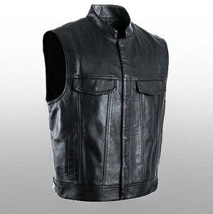 Image 3 - Leather Jacket Hot Sale Vest Mens Sleeveless Punk Pocket Loose Fit Black Brand Motorcycle Waistcoat Coats PU Male Streetwear