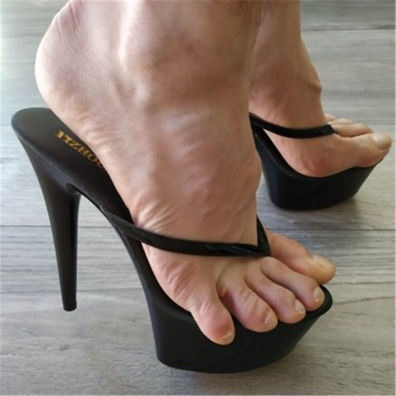 Fashionable 15cm Tall Princess Slipper, Sexy Nightclub High Heel Is Baked Lacquer Pole Dancing Shoes
