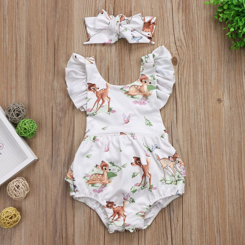 Top SaleFashion Newborn Baby Girls Toddler Infant Deer Ruffles Romper Jumpsuit Short Sleeve Bebe Summer Infant Cute Clothes Kids Outfits