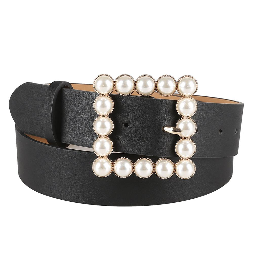 HUOBAO Leather Belts For Women's Fashion Pearl Decoration Square Buckle Belt Snake Skin Belt Waistband For Pants Dresses