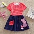 Летнее платье для девочек с героями мультфильмов, свинка пеппа, платье принцессы, детская одежда 2021, платье с коротким рукавом, детская одеж...