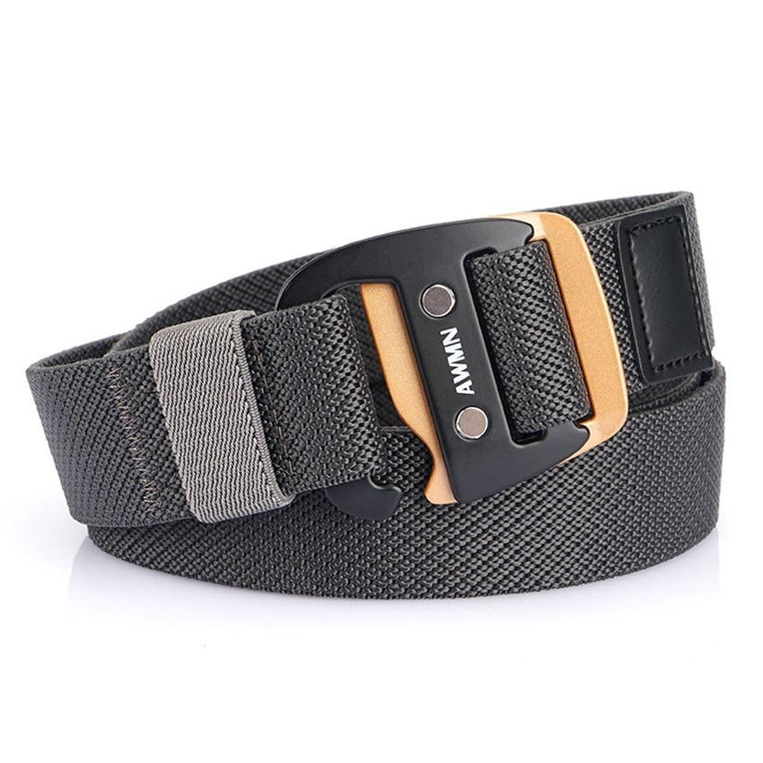 New Men's Metal Buckle Casual Nylon Belt Men' Elastic Belt s Wear-resistant Woven Stretch Outdoor Sports Accessories Belt