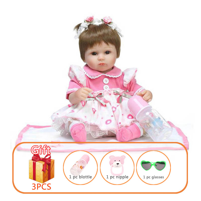 NPK 40cm Reborn Baby Silicone Doll Simulation Soft Toy Baby Doll Handmade Doll Reborn Toddlers Lovely
