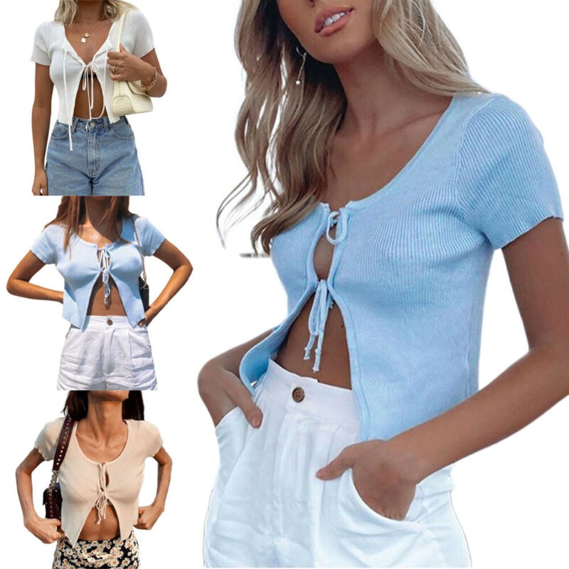 Newly Women Lace Up Plain Crop Top Tie Knot Short Sleeve V neck Thin Cardigan Blouse