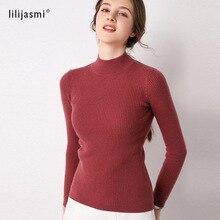 Sale Basic Women's Half Turtleneck 100% Merino Wool Ribbed Knit Slim Sweater Trend Colors Highneck Pullover Sweater Lady Jumpers недорого