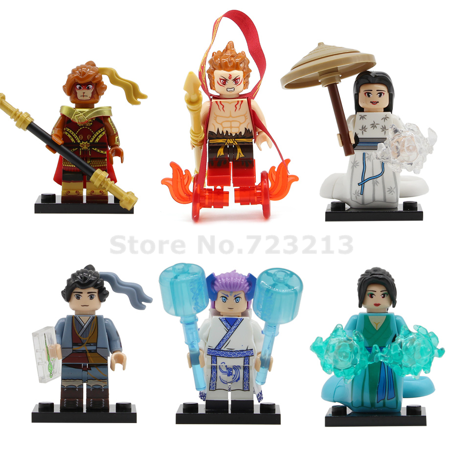 X0274 Fairy Tale Single Sale Figure Sun Wukong Na Zha Ao Bing Bai Suzhen Snake Cartoon Movie Building Blocks Model Bricks Toys