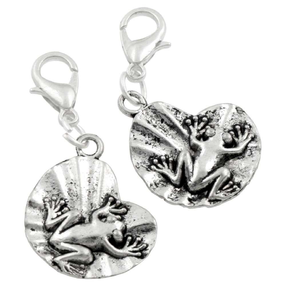 Frog On Lotus Leaf Lobster Claw Clasp Charm Beads Jewelry DIY C041 15pcs 35.1x17.8mm Tibetan silver