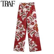 TRAF-pantalones de pierna ancha con estampado para Mujer, capris femeninos elegantes de moda con bolsillos laterales y cremallera de cintura alta, Estilo Vintage