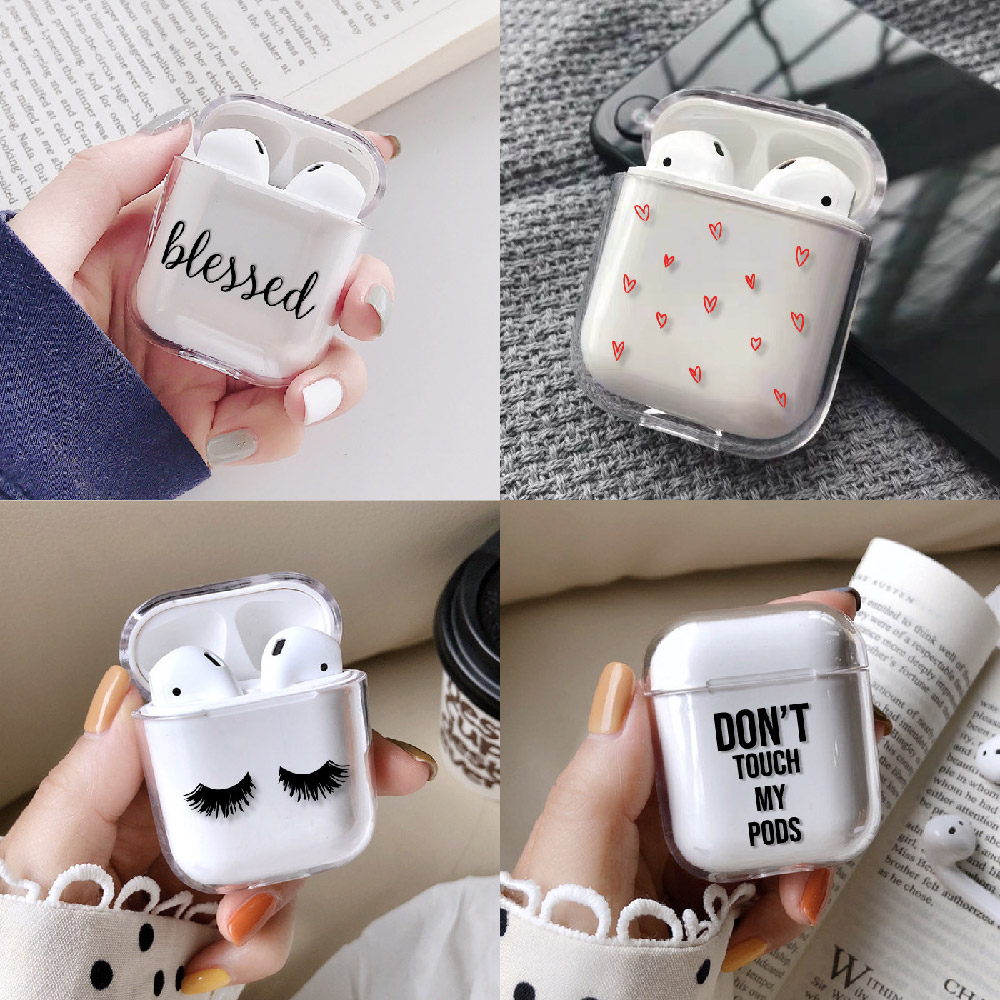 Love Heart Stars Cute Earphone Case For Apple iPhone Charging Box For AirPods Hard Transparent Protective Cover Accessories