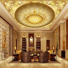 Custom wallpaper new gold hall European style 3D ceiling living room bedroom hotel wallpaper papel de parede mural 3d wall paper