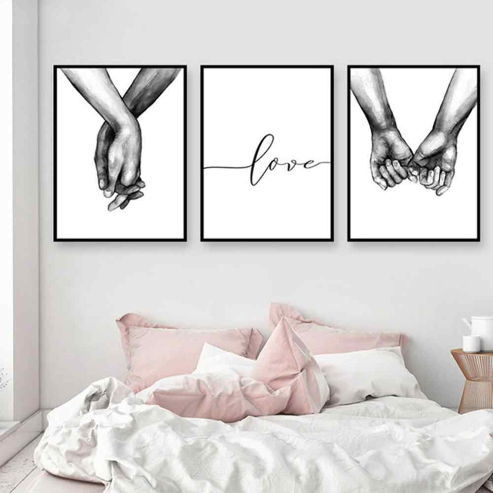 Back & White Style Sweet Love Wall Painting Art Canvas Poster Minimalist Print LOVE Painting Picture for Living Room Decor