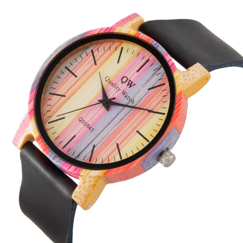 Image 5 - QW Sports Wooden Wristwatches Fashion Leather Colorful Women Girls Custom Wood Bamboo Watch-in Women's Watches from Watches