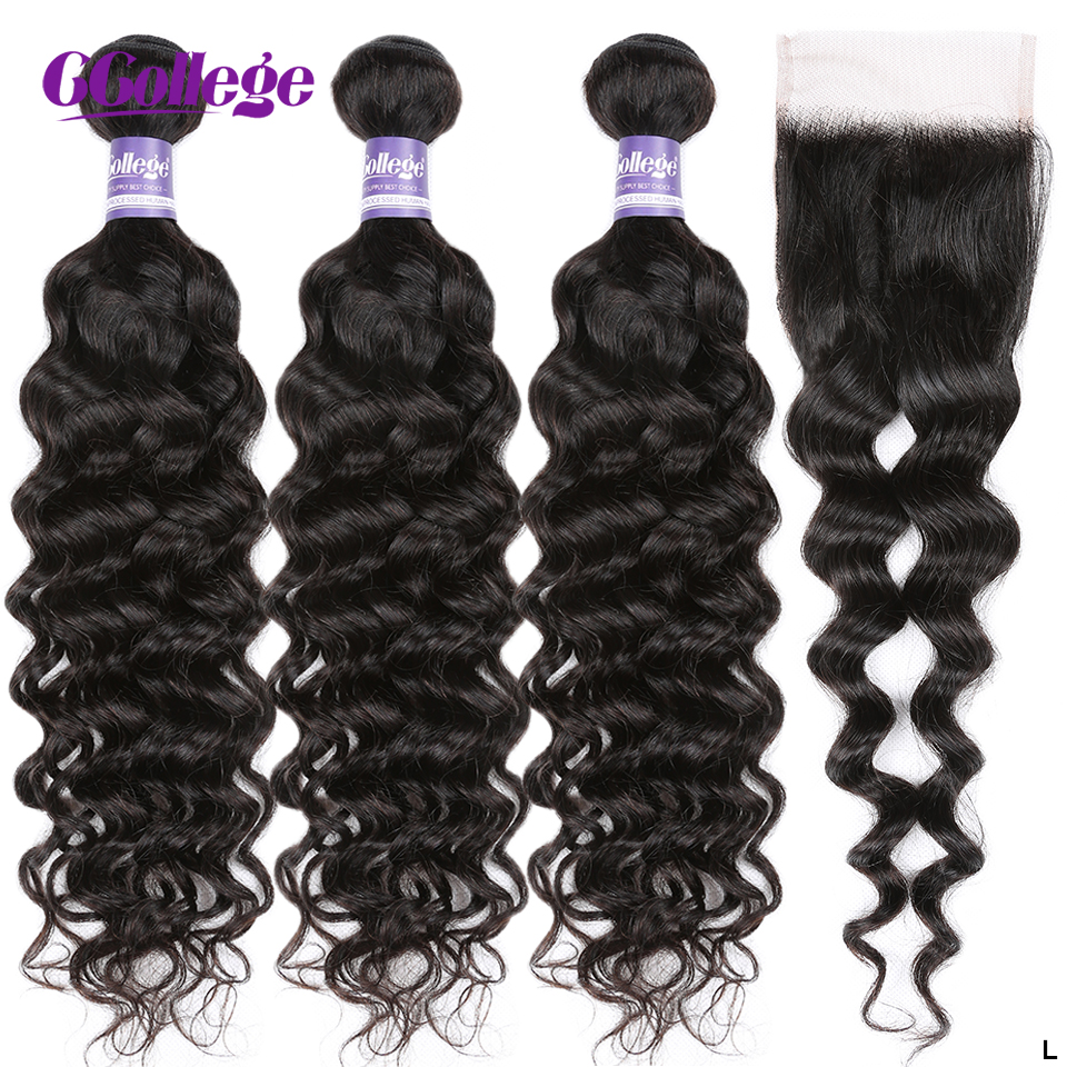 Ccollege Hair Natural Wave Human Hair Bundles With Closure Brazilian Hair 8''-26'' Low Ratio Longest Hair PCT 5% Non-Remy