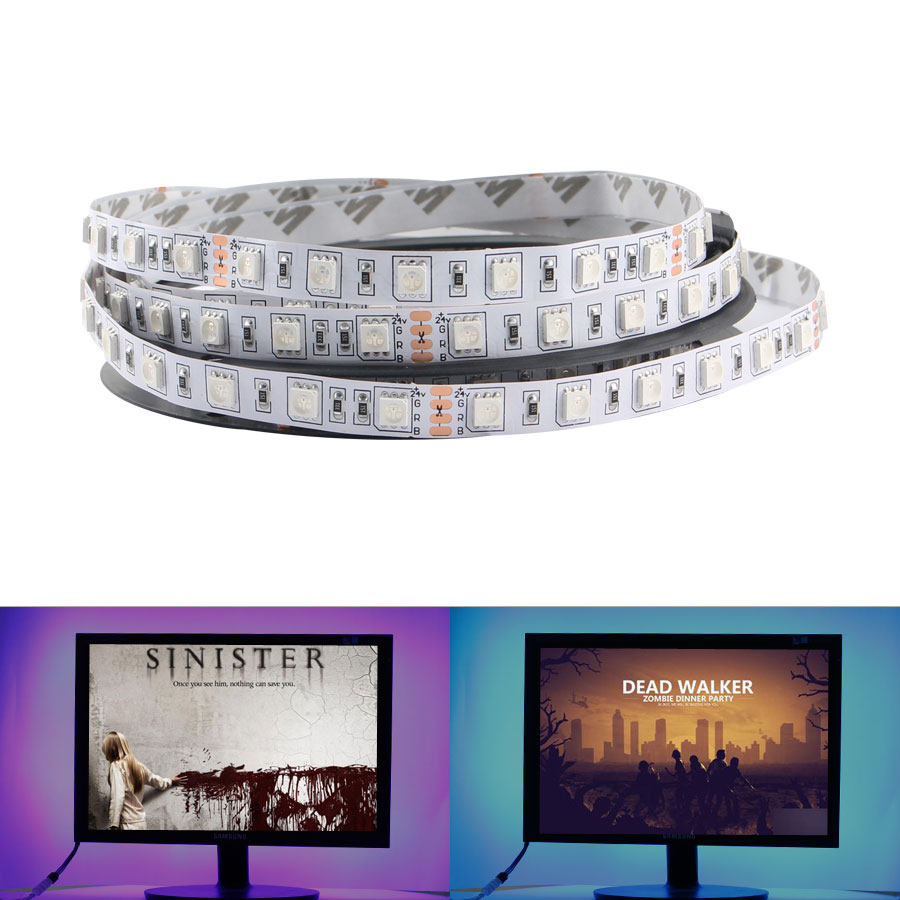 12V 24V LED Light Strip SMD 5050 RGB RGBW RGBWW Waterproof 60Led/s <font><b>5</b></font> M <font><b>12</b></font> 24 V Volt LED Strip Lights Lamp Ribbon TV Backlight image