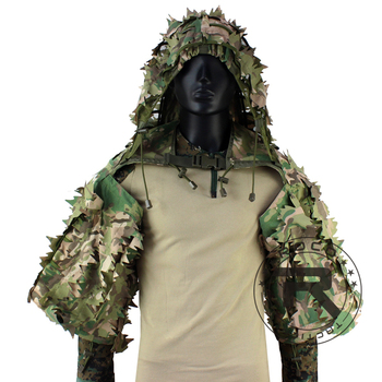 ROCOTACTICAL Tactical Ghillie Suit Breathable Ghillie Viper Hood with 3D Leafy Stripes Sniper Coat for Wargame, Hunting, CS 2