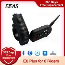 Ejeas e6 plus comunicador para motocicleta, comunicador para motocicleta, 1200m, bluetooth, interfone, fone de ouvido vox com controle remoto para 6 pilotos